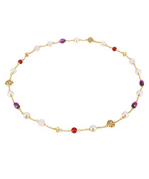 Gold-plated multicoloured bead necklace