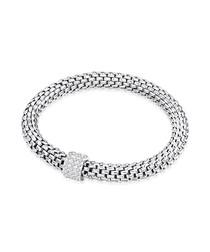 Silver-tone woven bangle