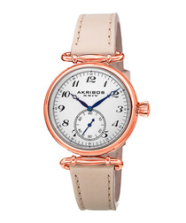 Rose gold-tone & cream leather watch