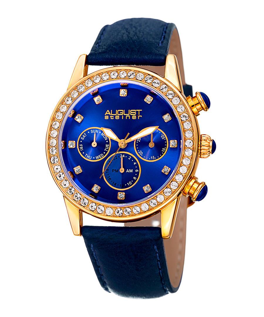 Blue leather crystal bezel watch Sale - August Steiner
