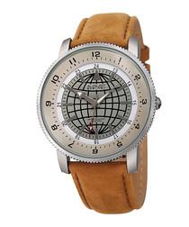 Silver-tone & tan leather watch
