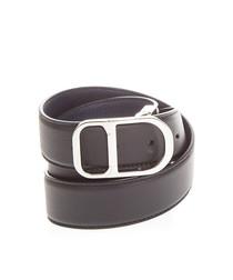 Black & silver-tone leather belt