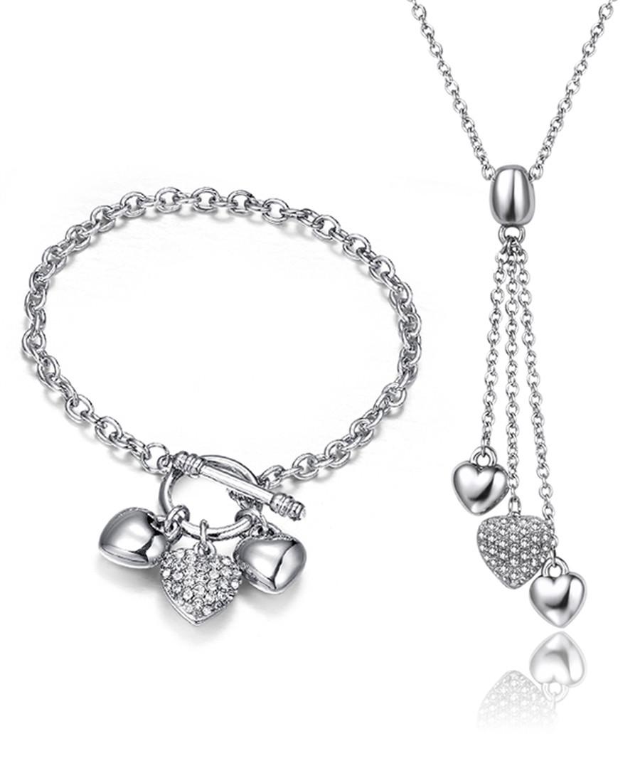 2pc silver-tone heart jewellery set Sale - mestige