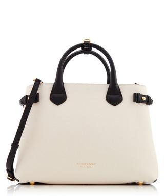 75ff8541bdfe Burberry. Cream   black leather grab bag