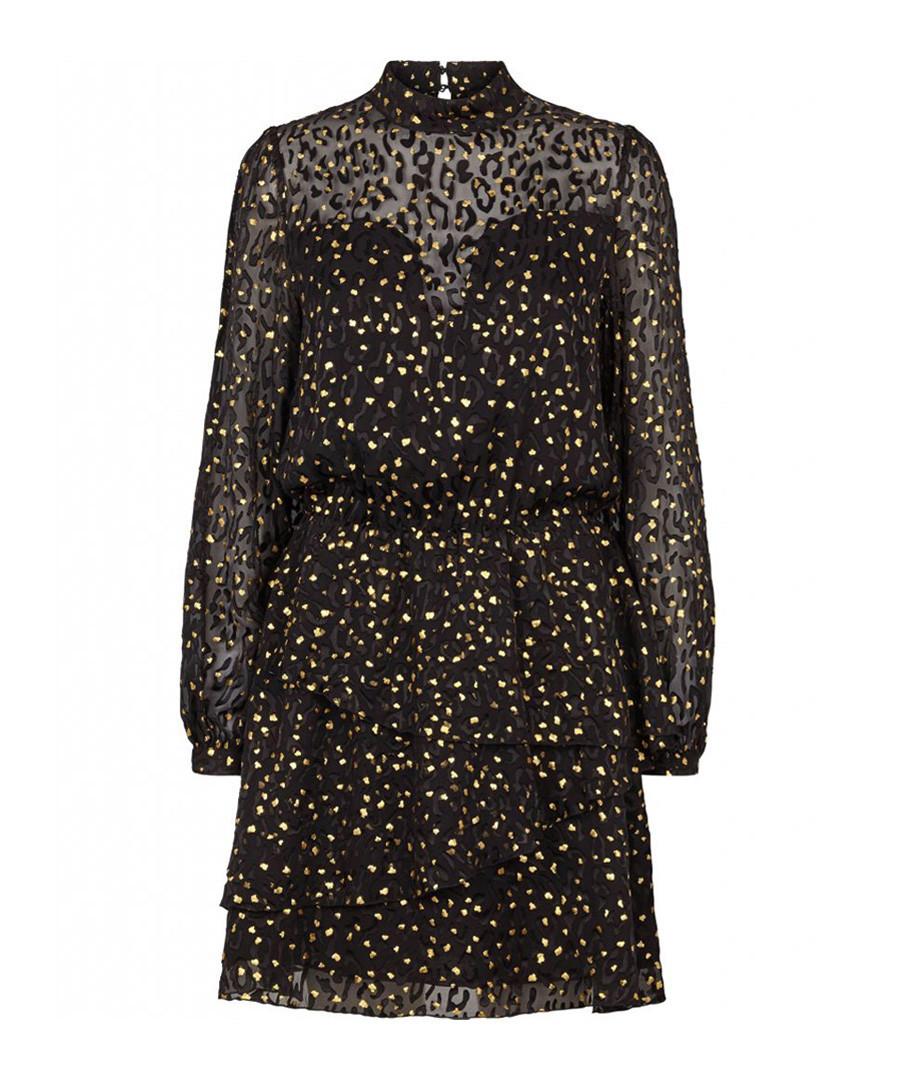 Women's black silk blend leopard dress Sale - Bruunz Bazaar