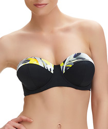 Beziers black printed bandeau bikini top