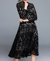 Black cut-out detail midi dress