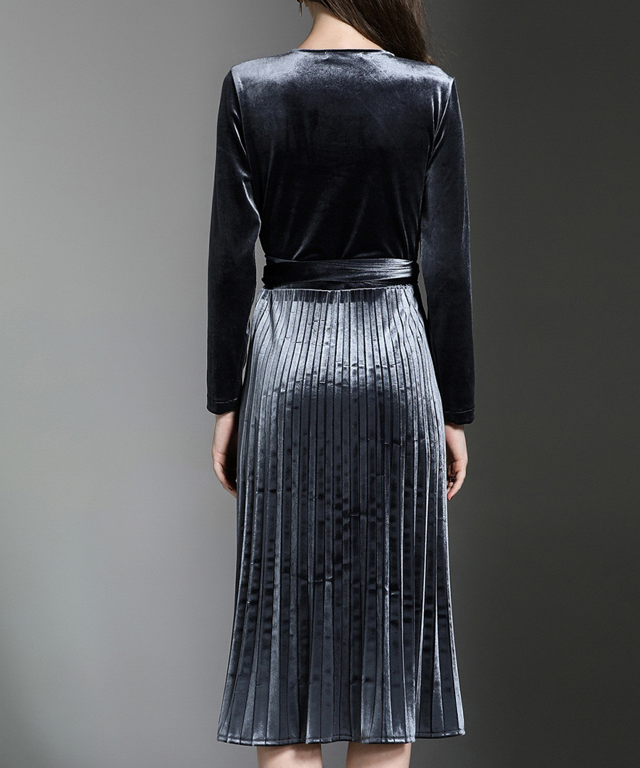 4f31ba71c2 ... Grey long sleeve velvet wrap dress Sale - yyfs ...