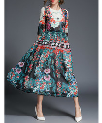 Multi-colour floral print midi dress
