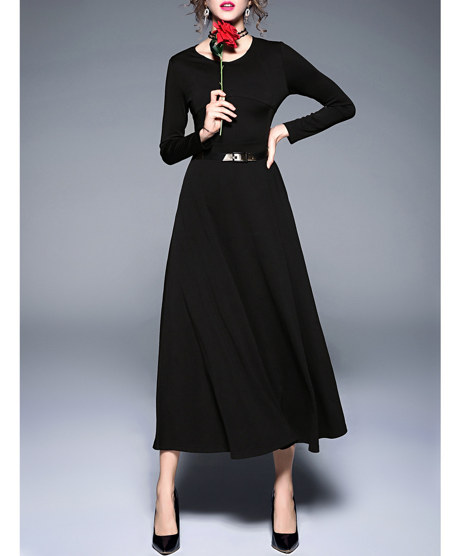 Black long sleeve belted maxi dress Sale - yyfs