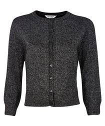 Maddy black merino wool cropped cardigan