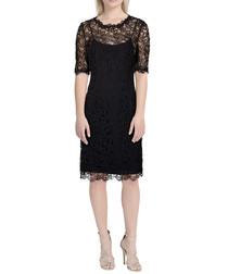 Sasha black & silver-tone lace dress