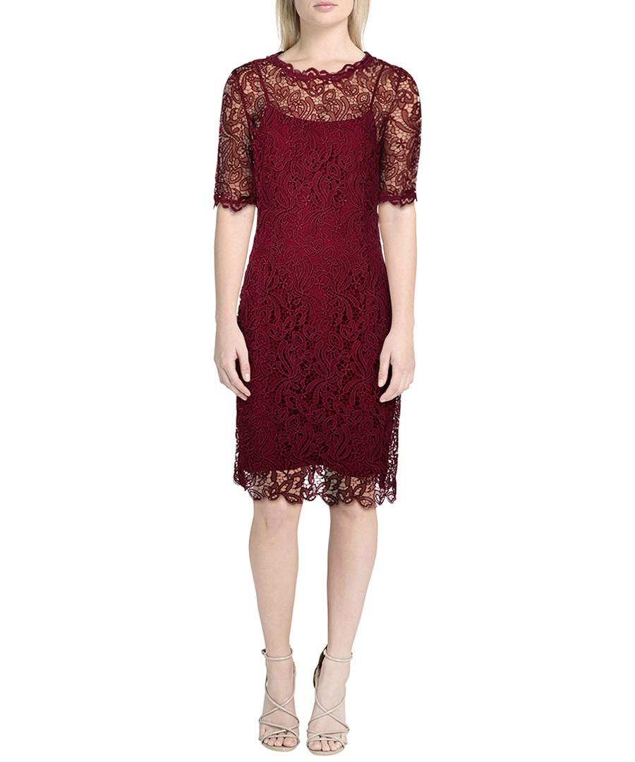 0776a5c8b432e Discount Sasha ruby lace overlay midi dress | SECRETSALES