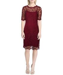 Sasha ruby lace overlay midi dress