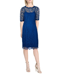 Sasha blue lace overlay midi dress