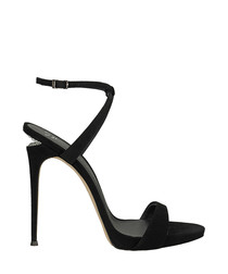 Dionne black satin stilettos