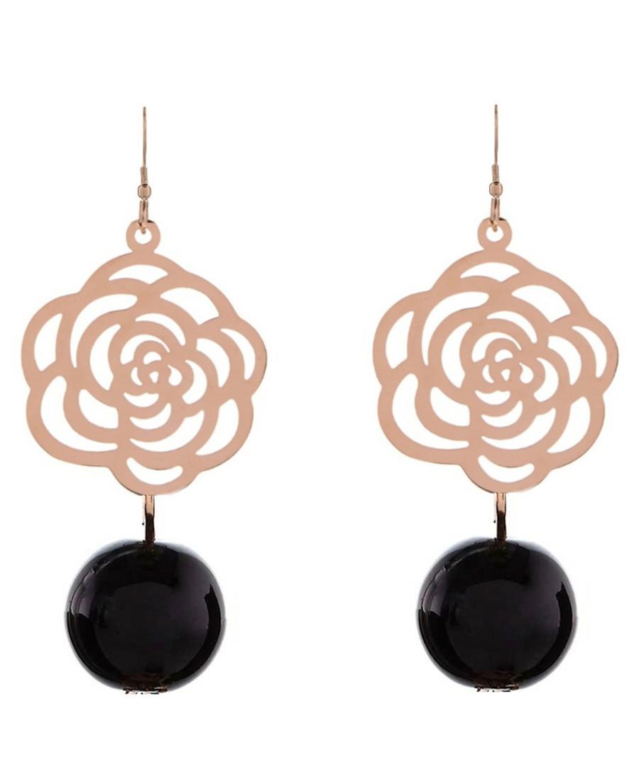 Rose gold-plated & black rose earrings Sale - liv oliver