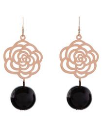 Rose gold-plated & black rose earrings