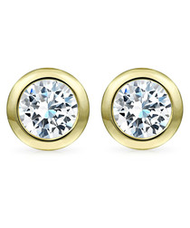 18k gold-plated & crystal studs