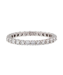 Rhodium-plated & crystal band ring