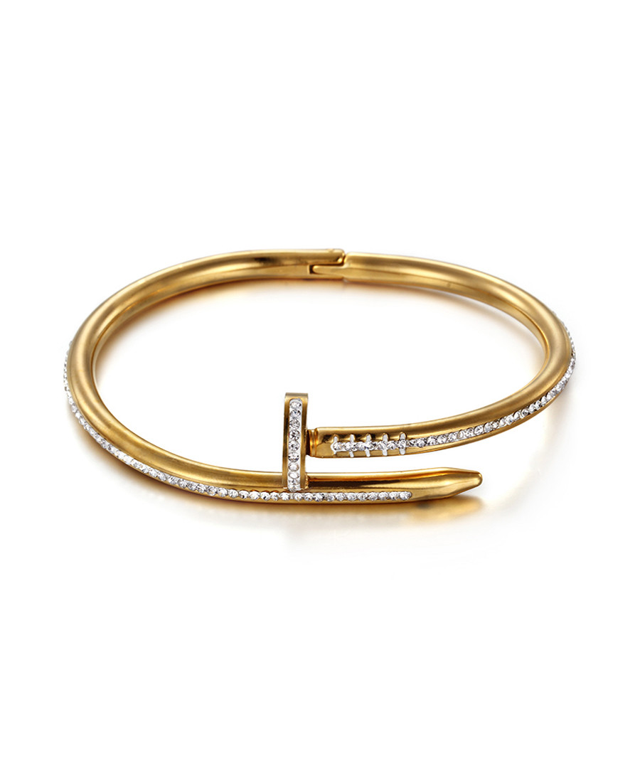 18k gold-plated & crystal nail bangle Sale - chloe collection by liv oliver