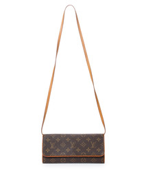 Twin brown monogram canvas cross body