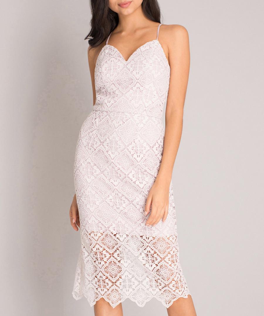 White spaghetti strap lace overlay dress Sale - Chi Chi