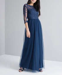 Navy 3/4 lace sleeve maxi dress
