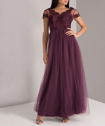 Purple lace detail V-neck maxi dress