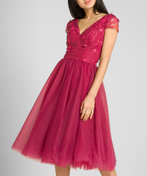 Pink lace V-neck midi dress