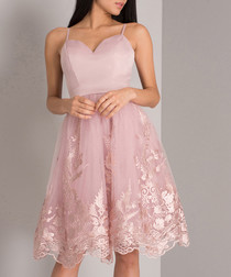 Pink sweetheart neck lace hem dress