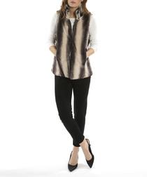 Grey silk blend striped gilet