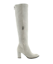 Grey leather thigh-high zip-up boots
