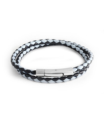 Black & light blue leather bracelet