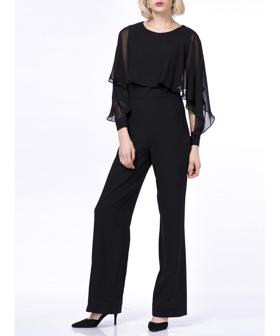 Black ruffle long sleeve jumpsuit Sale - zibi london