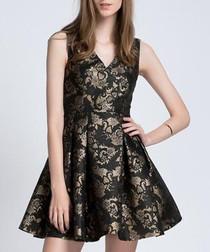 Black & gold V-neck mini dress