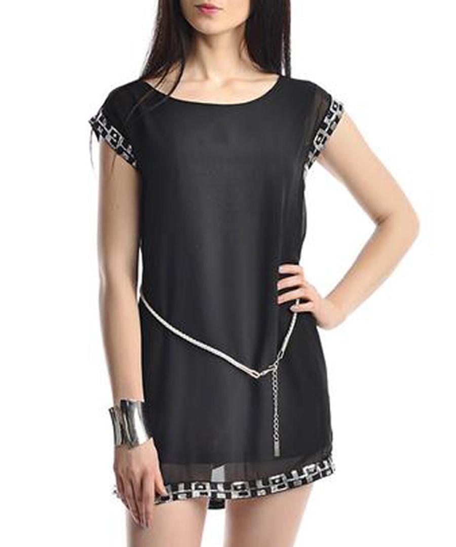 Black & silver-tone trim mini dress Sale - zibi london