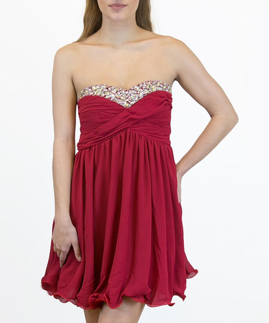 Red embellished bandeau dress Sale - zibi london