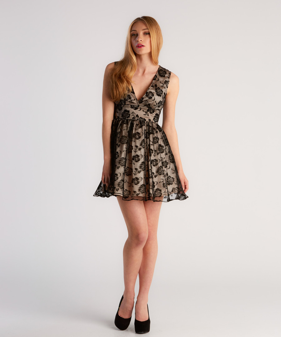 Black & copper high neck mini dress Sale - zibi london