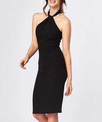 Black halterneck knee length dress