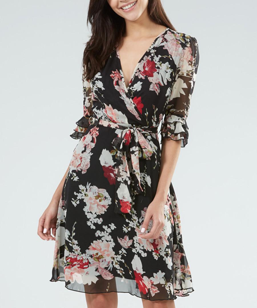 Black floral half sleeve wrap dress Sale - zibi london