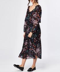 Multi-coloured long sleeve midi dress