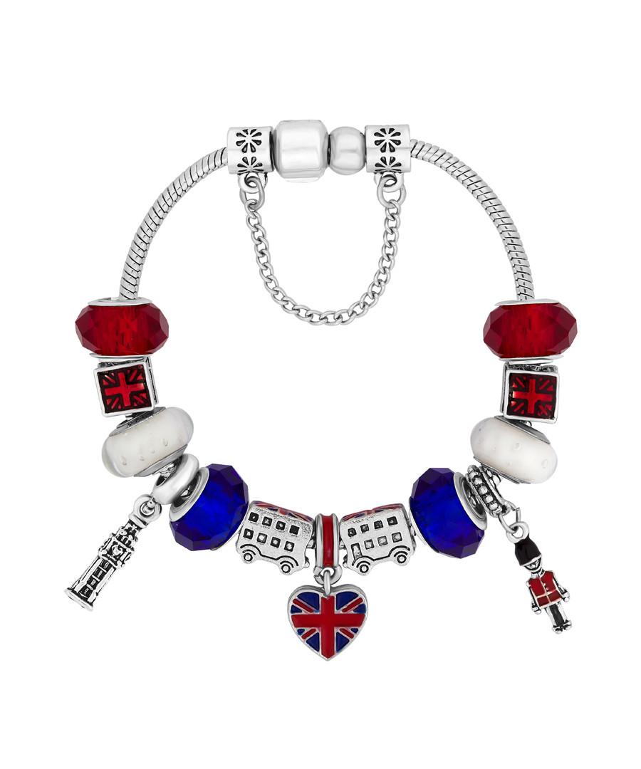 14ct white gold British charm bracelet Sale - diamond style