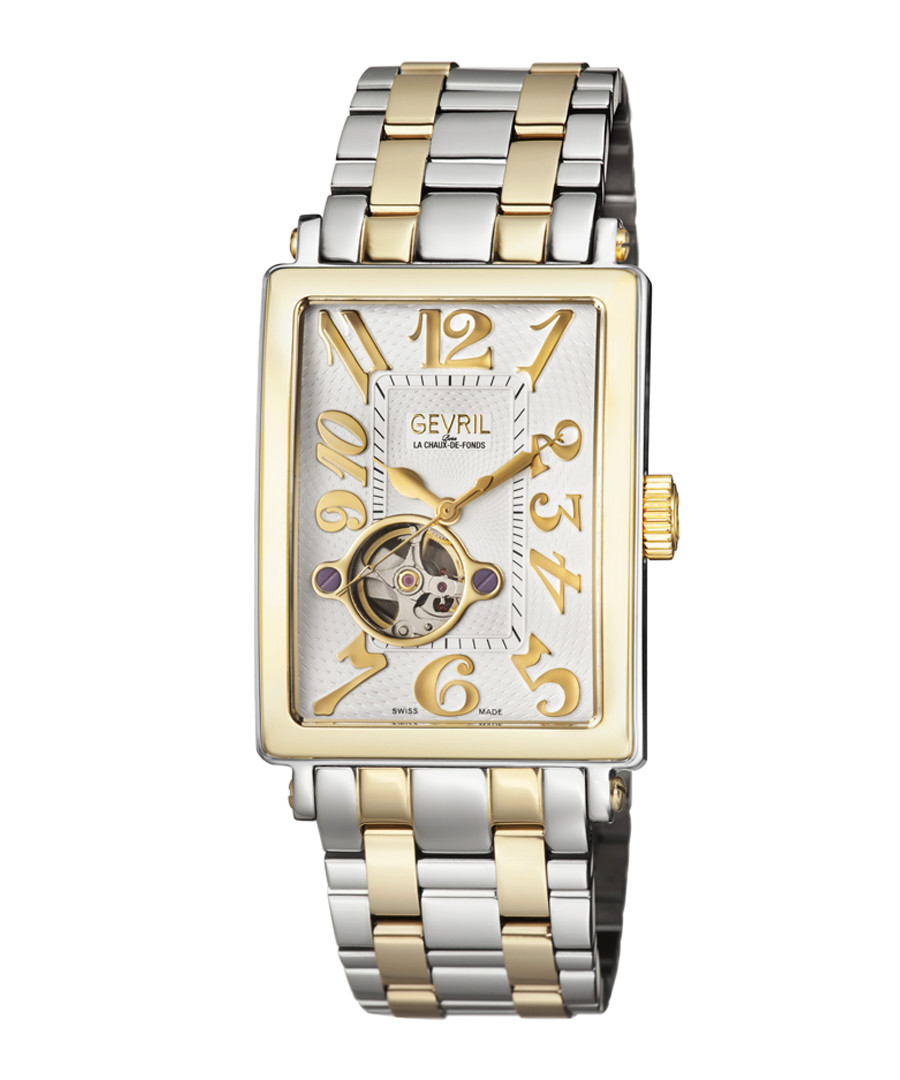 Silver & gold-tone square dial watch Sale - gevril
