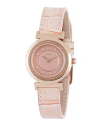 Rose gold-tone crystal bezel watch