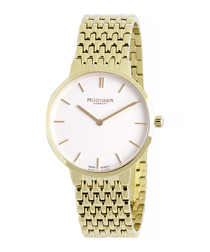 Gold-tone steel bracelet watch