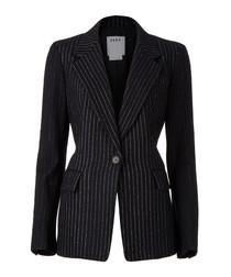 Black wool blend long sleeve jacket