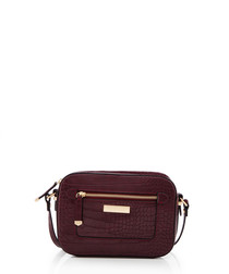 Mia wine moc-croc shoulder bag
