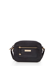 Mia black moc-croc shoulder bag
