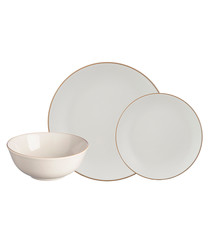 12pc cream stoneware dinner set